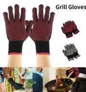 BBQ Grill Gloves Heat Resistant 3 Layers Insulation Silicone Non-Slip Barbecue Oven Gloves Kitchen Cooking Baking Accessories