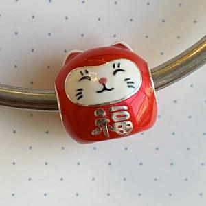 Cuenta Plata 925 Rojo Maneki Neko