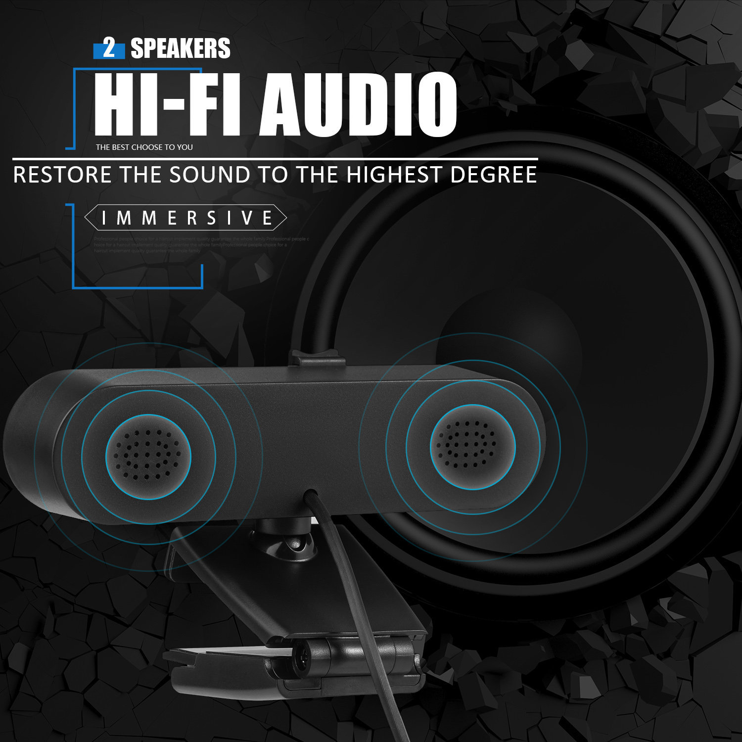 PGR-008 Webcam 4K 2K 1K with Dual Stereo Microphone