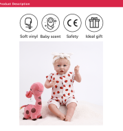 22 Inches Reborn Baby Dolls Soft Full Vinyl Silicone Body Surprice Gift Toy for Children