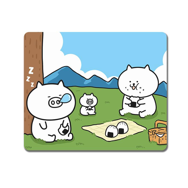 Tapis de souris enfant famille de petits cochons en pique-nique