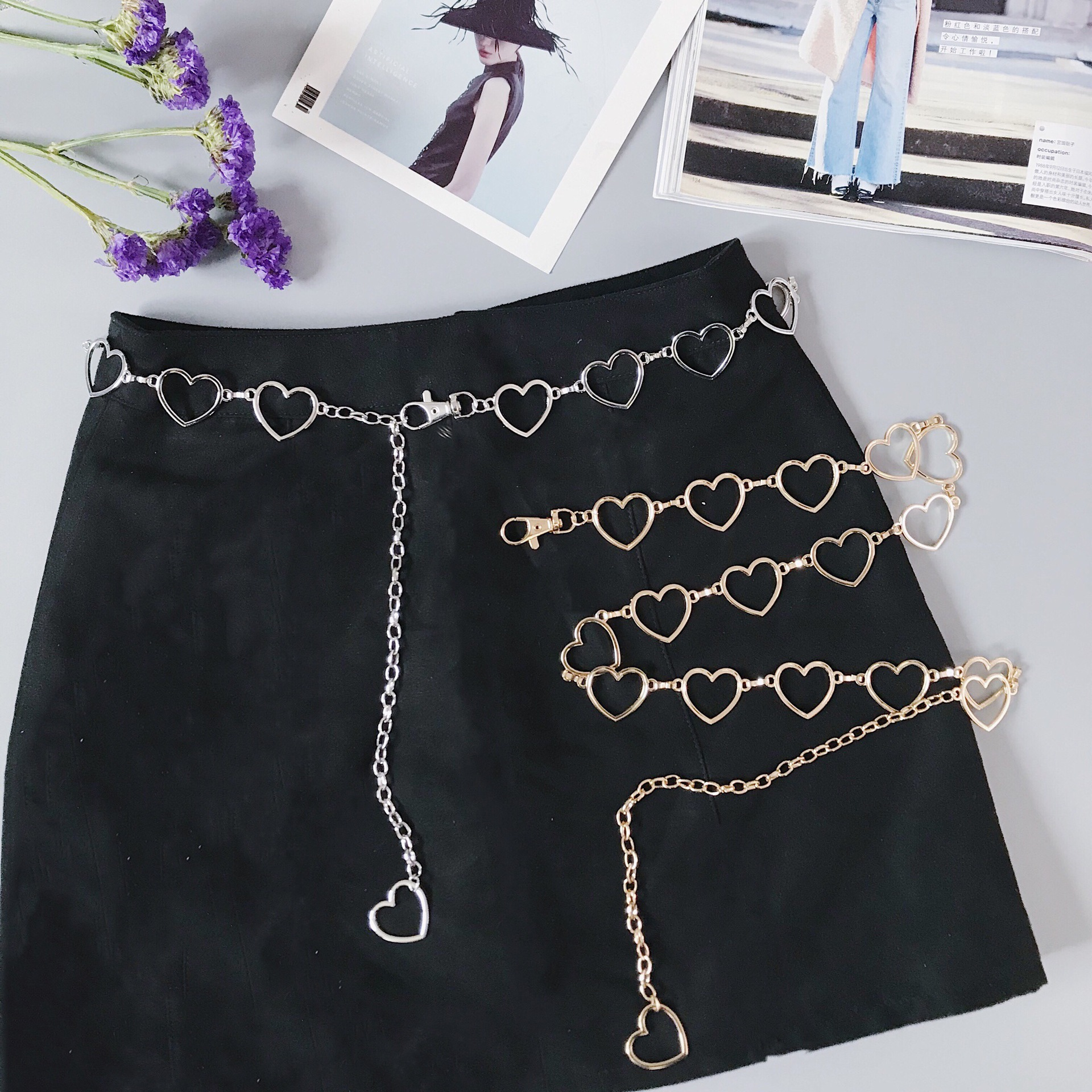 0e2d3868-427f-41de-9335-a59cb7e4a350 Heart Shaped Belt Chain Women Fashion Circle Metal Waist Chain