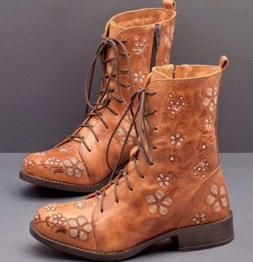 Women's Embroidered Boots  Vintage style, waterproof and warm with side zipper