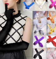 Womens Long-Gloves Satin Opera Womens Stretch Party Evening Banquet Opera Evening Party Prom Gloves