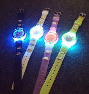 Korean version of the exo LED light cool tide Damen Harajuku trend personality of students leisure sports night watch jelly
