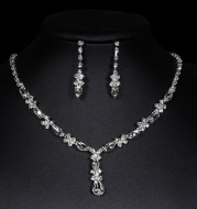 Bridal Jewelry Crystal Necklace two sets Bridal Crystal Necklace Earrings bridal suit