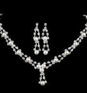 Simple bride jewelry full drill pearl necklace, wedding Rhinestone Necklace, married two sets of women