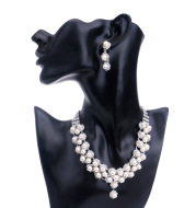 Europe and the United States foreign trade explosion bride pearl jewelry set classic classic diamond studded BRIDAL NECKLACE EARRINGS WHOLESALE