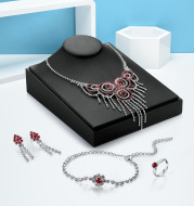 Europe and America high-end necklace, earring, bracelet, ring set, bridal jewelry four sets, wholesale manufacturers