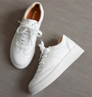 All-Match Leather White Shoes Female Student Single Shoes With Thick Soles