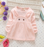 In the autumn of 2021 new children's skirt dress baby infant long sleeved cartoon rabbit princess dress color cotton