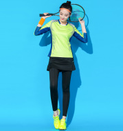 Beautiful cool table tennis badminton wear Jersey suit female suits summer winter culottes fast drying long sleeved sport suit