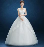 Summer New Wedding Dress, Korean Simple Shoulder Uniform Show Thin Bride Married One Word Shoulder Dress