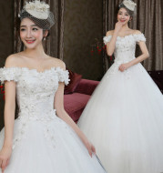 Fashion bride Korean word shoulder thin flowers wedding dress wedding knot 2021 new wholesale H82