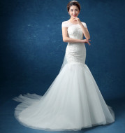 Wholesale fashion one word, shoulder lace, fishtail Tail Han bride married 2021 new wedding dress D95