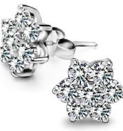 Full diamond snowflake stud earrings