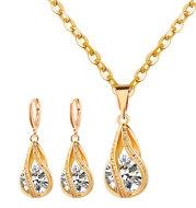 S163 Korean simple zircon jewelry set Silver Drop Necklace Earrings set new bride wedding