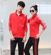 New autumn and winter outfit, badminton suit, men's and women's zipper, long sleeve pants, sports matches, team clothes