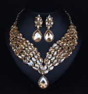 Europe and the United States fashion exaggerated full drill bridal dress accessories luxury clavicle chain suit accessories necklace wholesale
