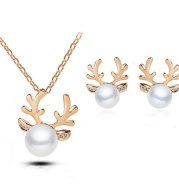 Europe and the United States foreign trade Pearl Necklace Earrings Set Diamond Wedding Jewelry Necklace Set bride antlers