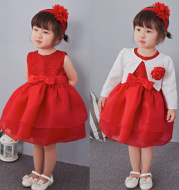 Baby red skirt suit, baby full moon dress, 100 year old princess dress, lace wedding dress, child dress