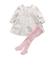 Winter baby baby girl small floral dress + Cotton Leggings 2 piece suit