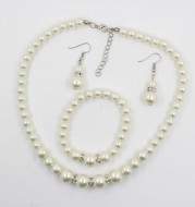 Fast sell hot bridal decorations, wedding jewelry set, pearl necklace, earring, bracelet wholesale