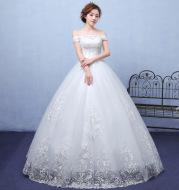 2021 summer paragraph white word shoulder wedding dress lace wedding bride wedding dress wholesale custom
