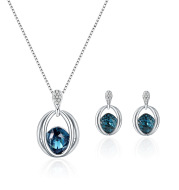 Two Sets of Fashion Inlaid Crystal Bridal Necklace And Earrings