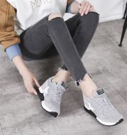 2021 new spring and summer thick Korean leisure sports shoes leather shoes increased ventilation net