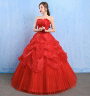 The new spring and summer 2021 Korean wedding dress bride bra size women Qi red lace was thin