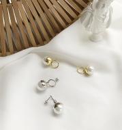 Large Pearl Earrings in Sterling Silver
