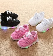 Children 1-3-6 years old baby toddler shoes light soft bottom shoes LED with light and breathable baby shoes net shoes