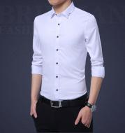 Solid color business plus size shirt