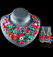 2021 speed selling explosion, Middle East, Europe and the United States colorful exaggerated bride necklace earrings set of alloy manufacturers