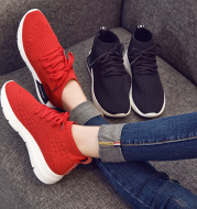 Leisure sports shoes 2021 autumn new Korean flat top, round head lace up, flying shoes, coconut shoes, women's shoes