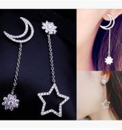 Long tassel star moon earrings