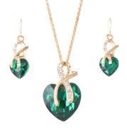 Austrian crystal jewelry bride aliexpress hot explosion Pendant Necklace Earrings Set Heart Love
