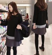 Nine-point sleeve bottoming slimming loose dress