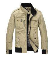 Men's Shoulder Strap Stand Collar Cotton Coat