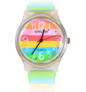 Striped student sports quartz watch