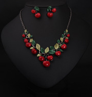 Europe and the United States big jewelry, cherry necklace, earrings set, women fashion evening dress, bride temperament accessories DD