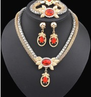 Bridal alloy four pieces of European and American double color crystal flower necklace earrings bracelet ring set 9132