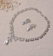 TL106 bridal jewelry high-end Korean diamond alloy necklace, earrings set wedding accessories