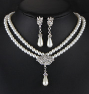 Jewelry Bridal Pearl Crystal Diamond Short Clavicle Neck Necklace Set