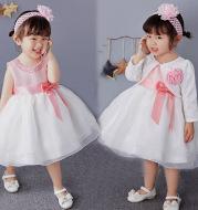 2021 new old baby princess dress, flower girl dress baby girls pink dress skirt full hundred days