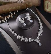 TL216 White Rhinestone Necklace Earrings Set zircon Butterfly Pendant Earrings Pierced drop bride two piece
