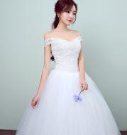 Simple and slim white wedding dress