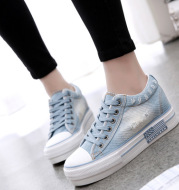 2021 spring and summer single shoe Korean version of canvas shoes in the thick bottom of the high cowboy shoes students casual women cloth shoes