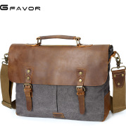 The source document man satchel Canvas Bag Shoulder Handbag retro computer with crazy horse leather bag
